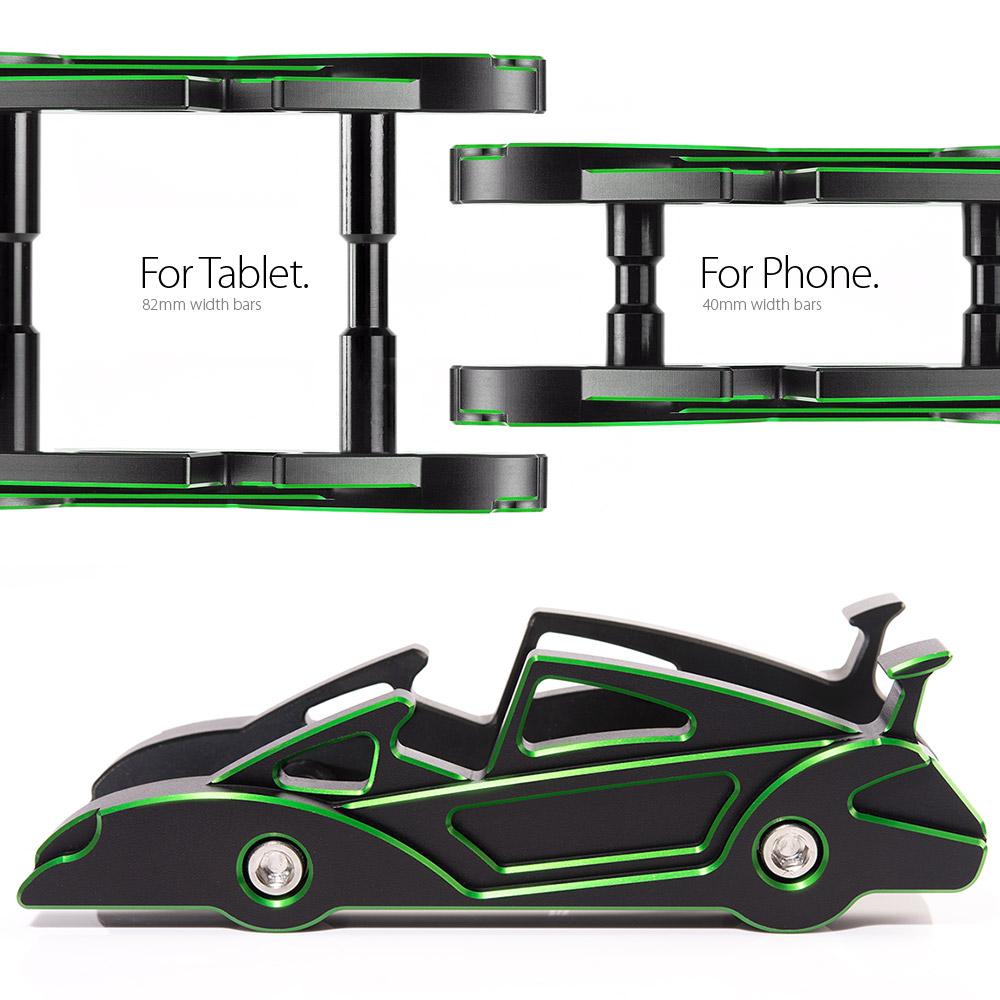 KiWAV|航太鋁合金多功能手機平板架-跑車款(川崎綠)