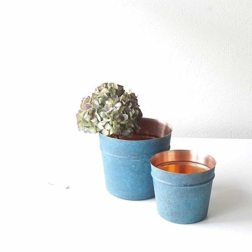 折井 Orii|tone銅彩置物筒-銅藍(M)