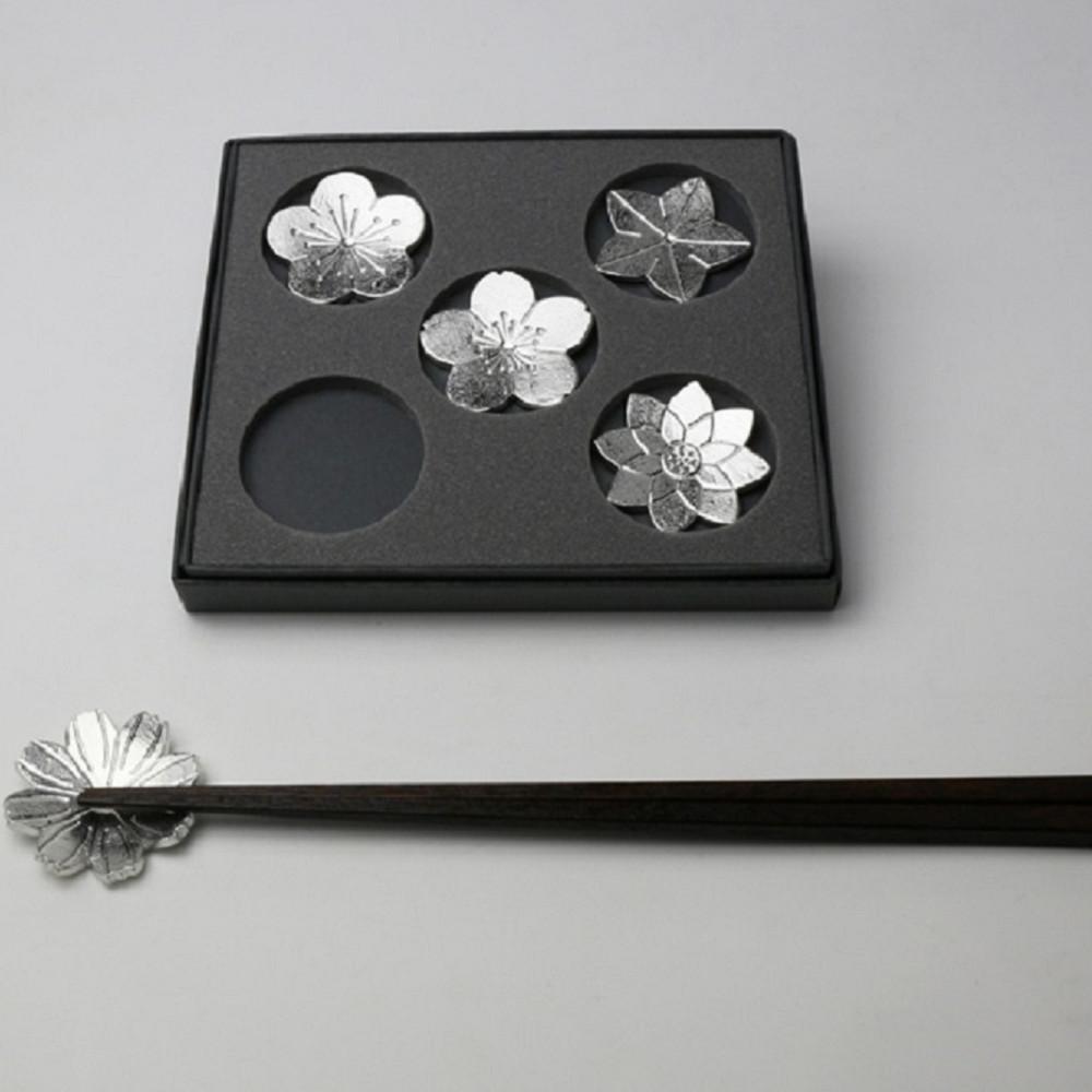 能作 有花堪折純錫筷架 (5入)