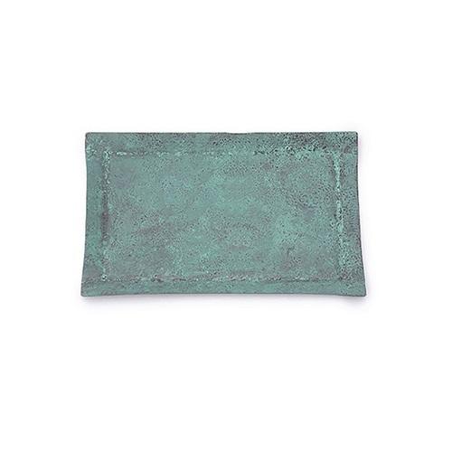 折井 Orii tone四方銅彩盤-銅藍(S)