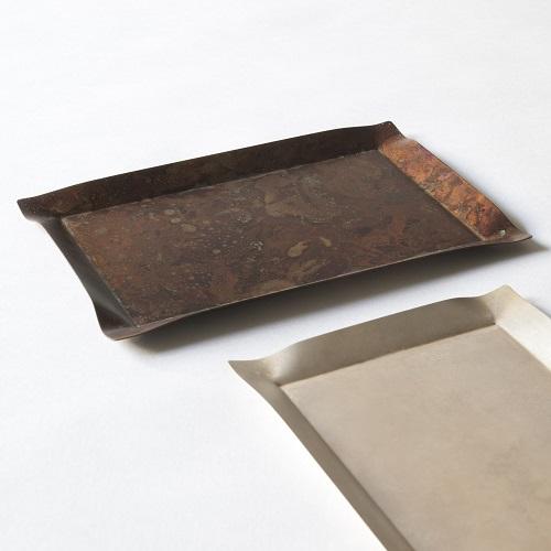 折井 Orii|tone四方銅彩盤-珍珠銀(S)