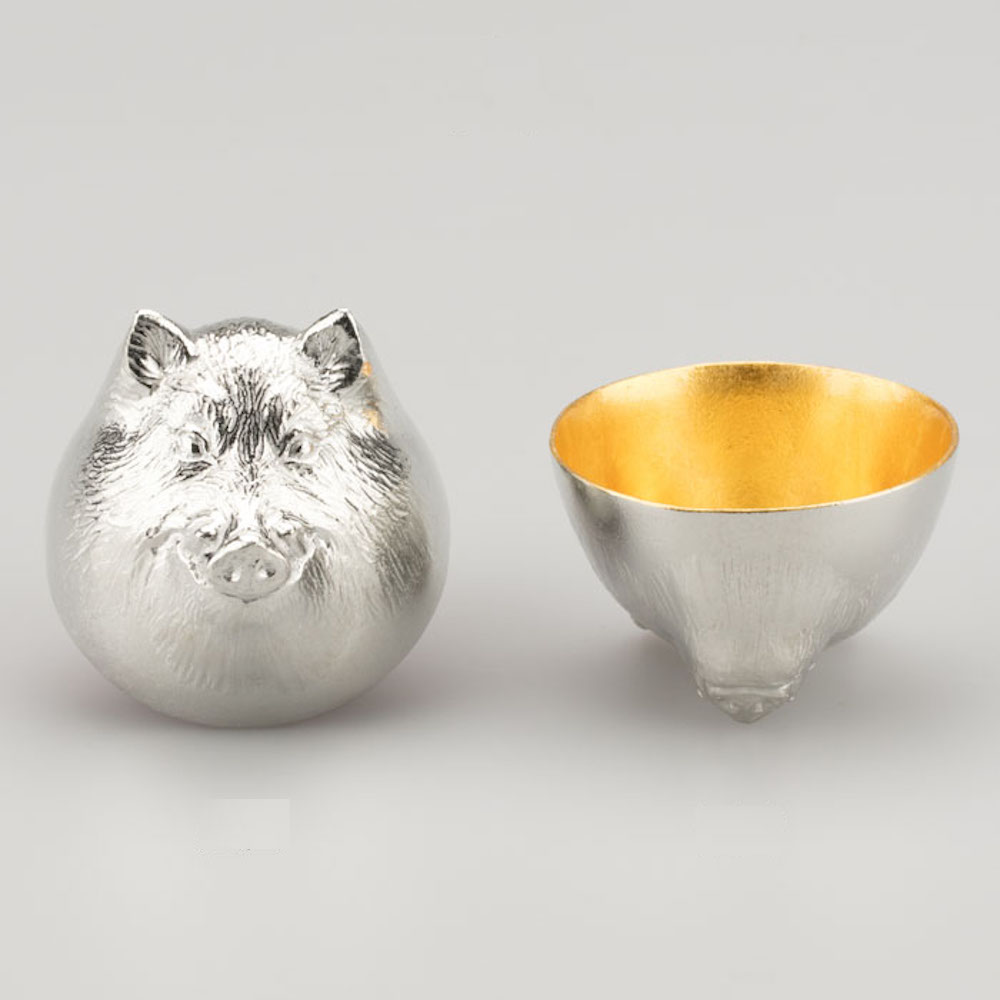 能作 金箔生肖造型杯(豬)
