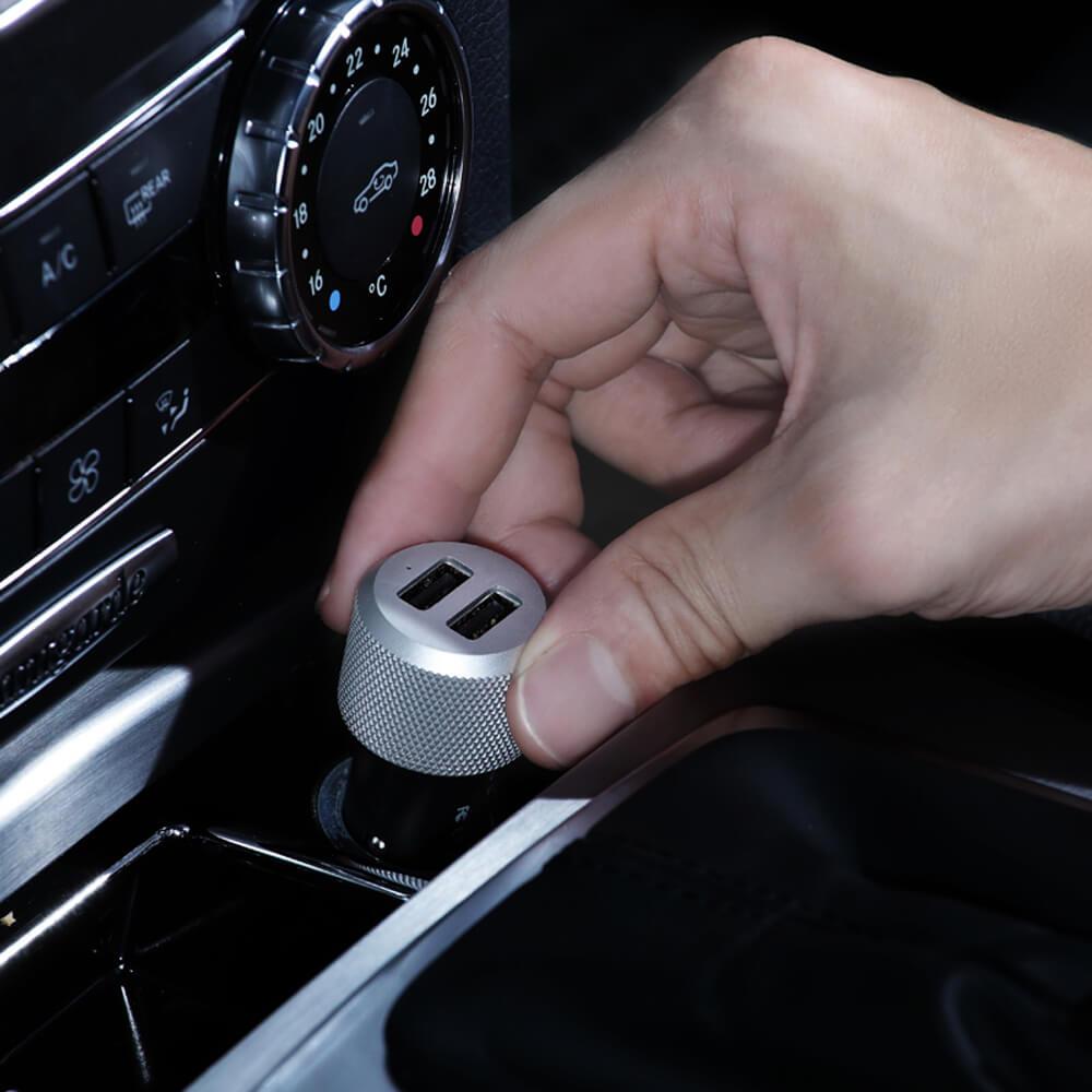 Just Mobile Highway Max™ 雙孔鋁質車充 (附Micro USB捲線)CC-168S