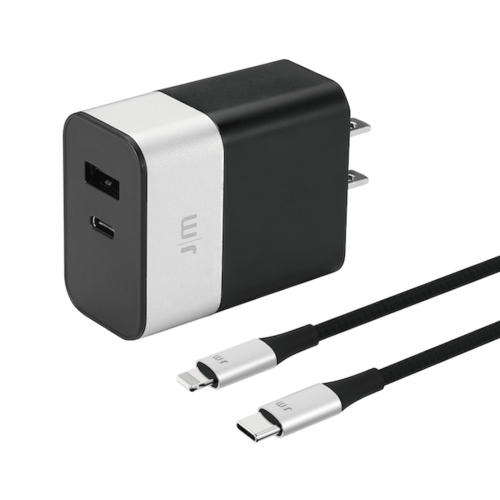 Just Mobile|AluPlug™ Pro 德國鋁質雙埠快充充電器 (附1.2m USB-C to Lightning 鋁質傳輸線)