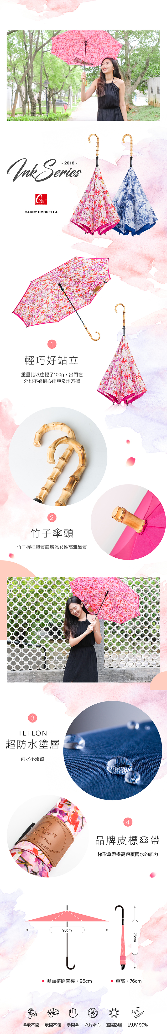 Carry|Ink series 反向傘(Flowerink)