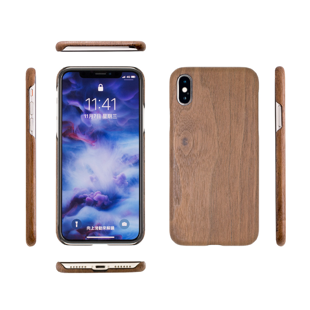 Carry|RealWood 純木手機殼 – 胡桃木 ( for iPhone XS Max )