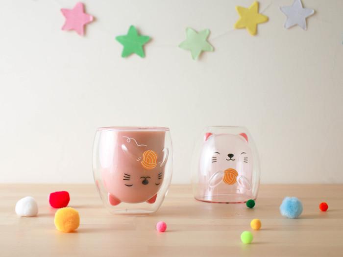 好玻 GOODGLAS|粉紅小貓雙層杯