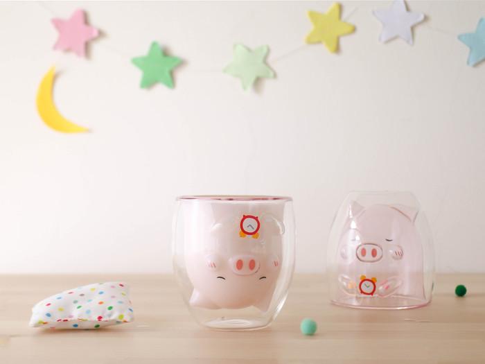 好玻 GOODGLAS|粉紅小豬雙層杯