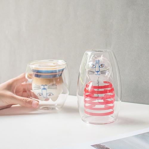 好玻 GOODGLAS|Lisa Larson MIMI雙層杯-兩入組(紅+藍)