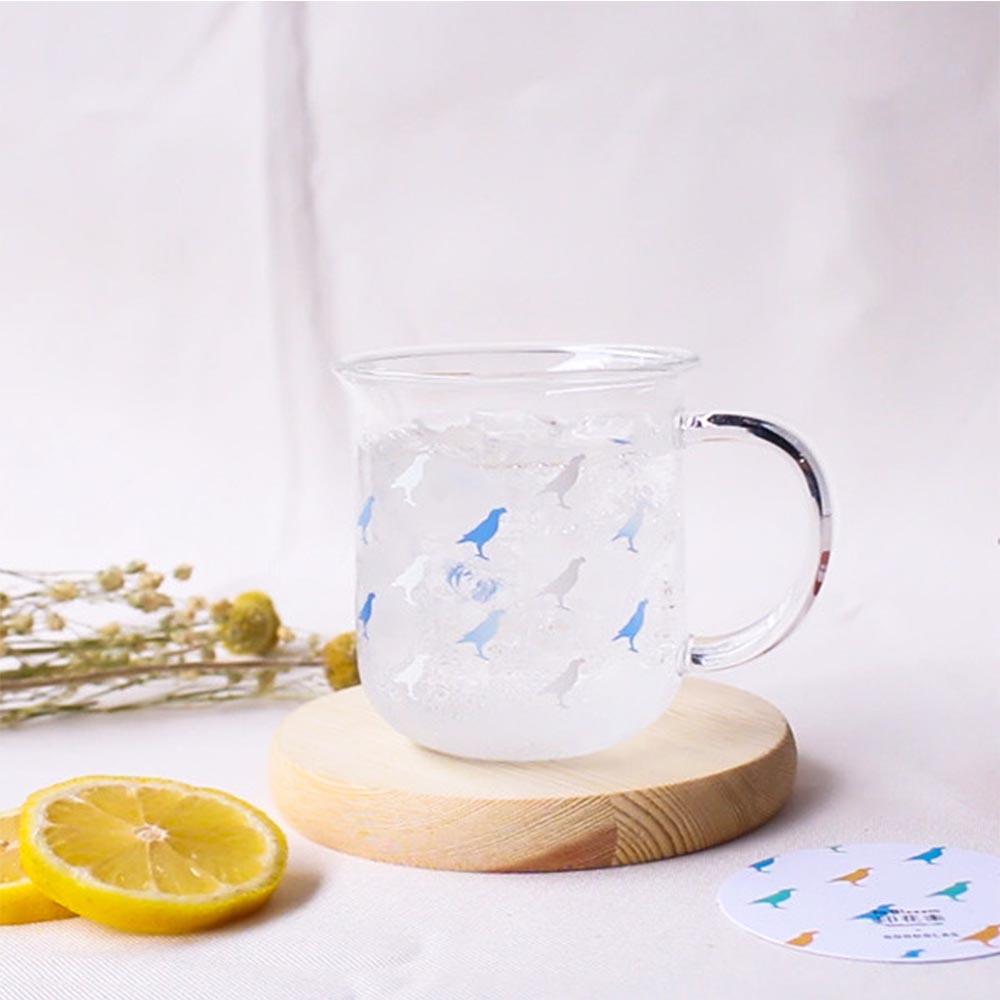 印花樂 X 好玻   台灣八哥把手水杯-變色藍白