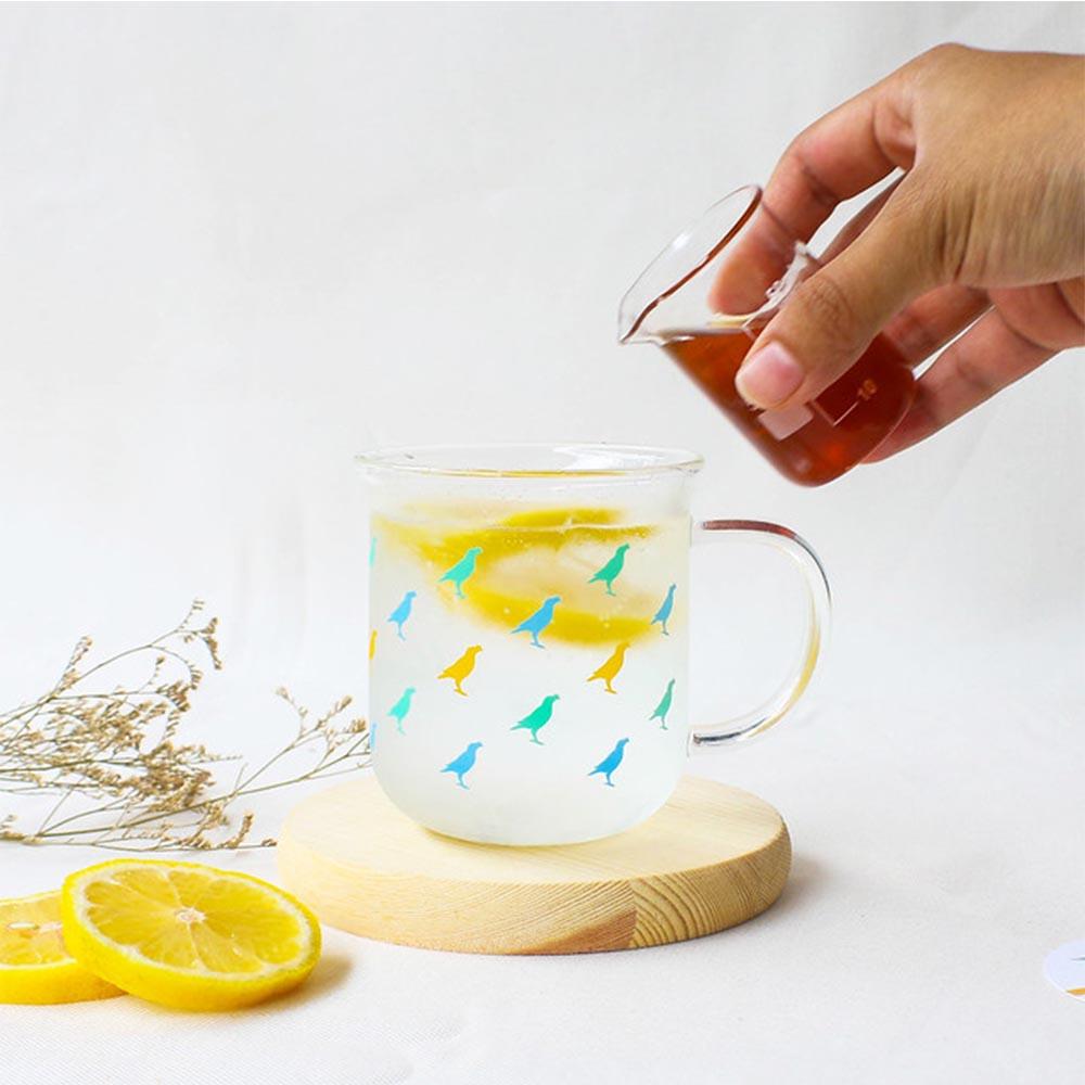 印花樂 X 好玻 | 台灣八哥把手水杯-甜筒藍黃