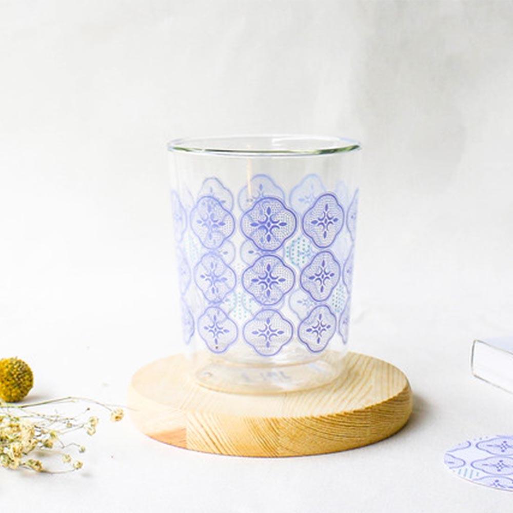 印花樂 X 好玻   海棠玻璃雙層杯-仙境藍