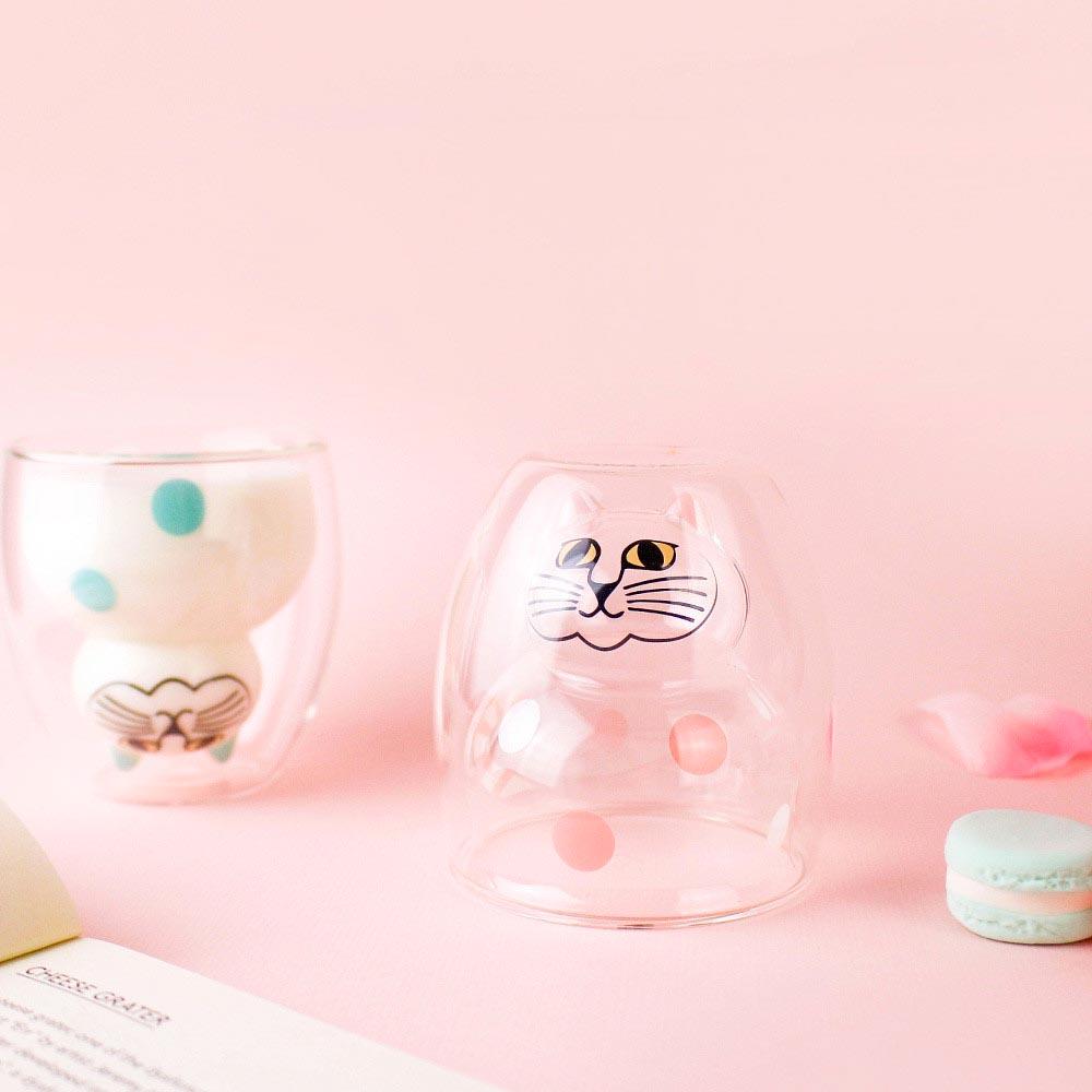 好玻 GOODGLAS X Lisa Larson | 粉紅斑點貓咪雙層玻璃杯