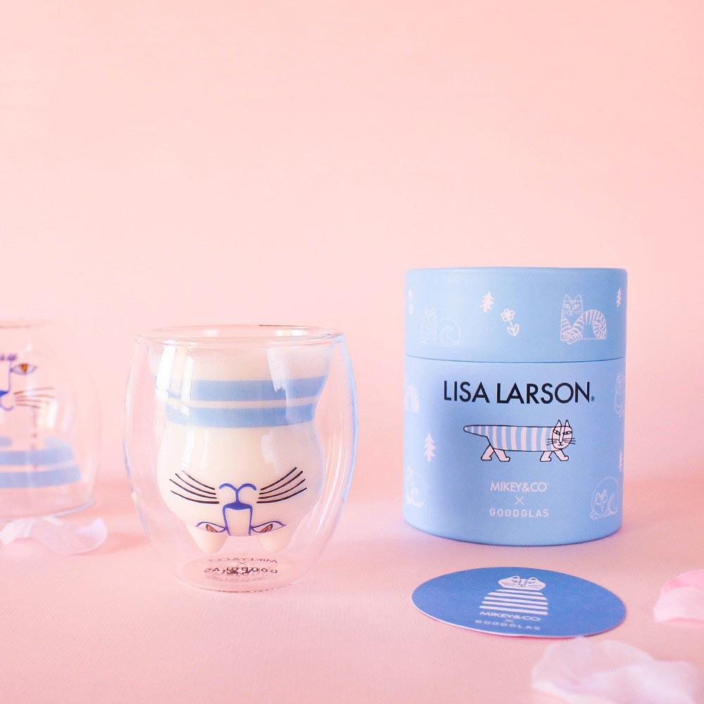 好玻 GOODGLAS X Lisa Larson|MIMI雙層杯-粉藍