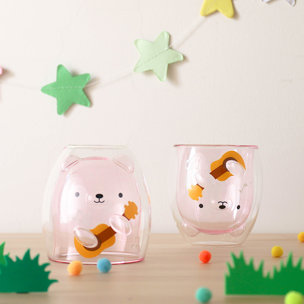 好玻 GOODGLAS|粉紅小熊雙層杯