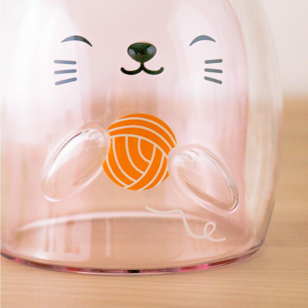 好玻 GOODGLAS 粉紅小貓雙層杯