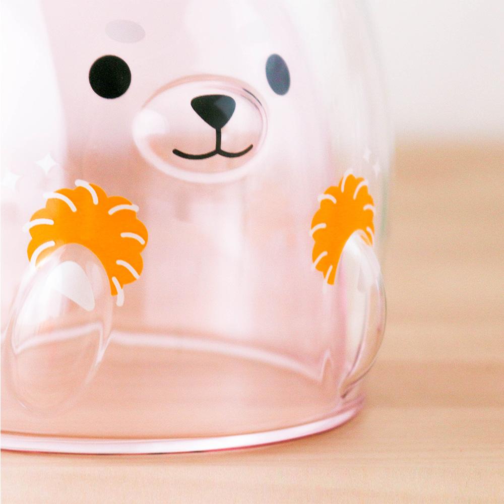 好玻 GOODGLAS|粉紅柴犬雙層杯