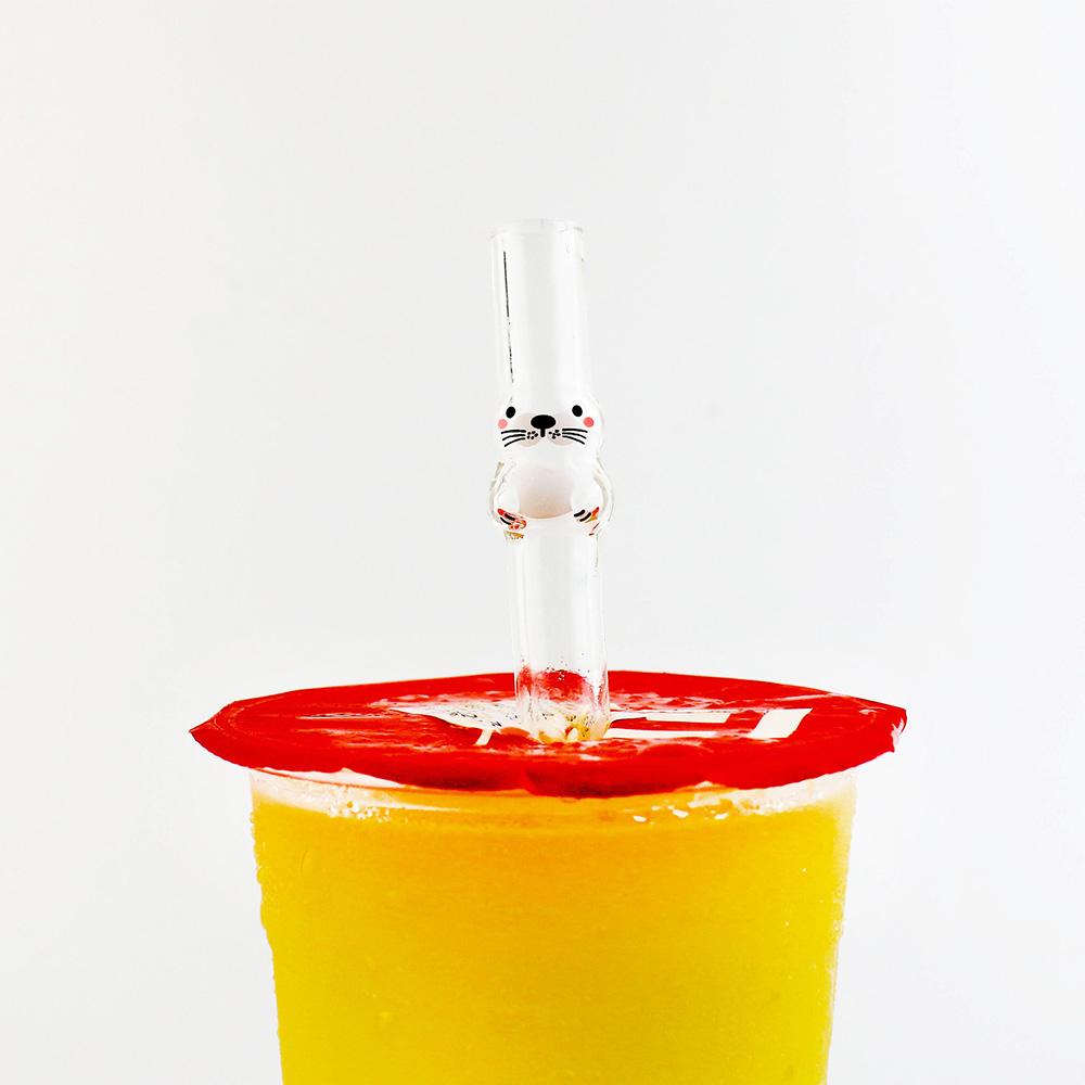 好玻 GOODGLAS|海豹造型玻璃吸管