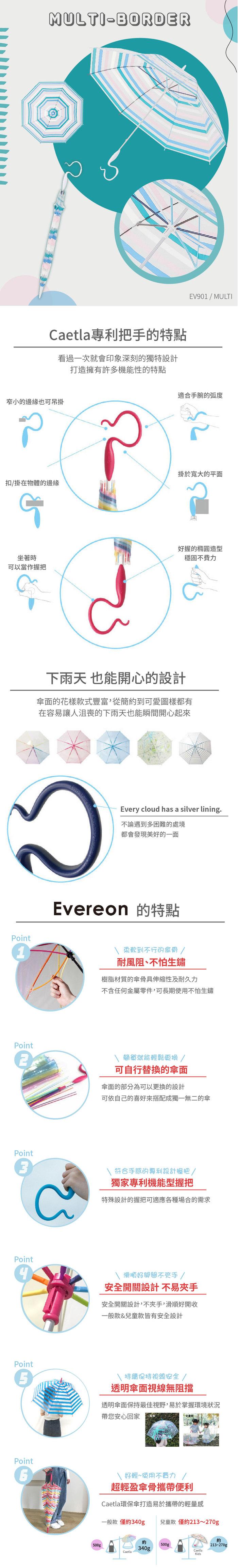 (複製)Caetla Evereon|可替換式環保輕量傘-F10-109 / Sky