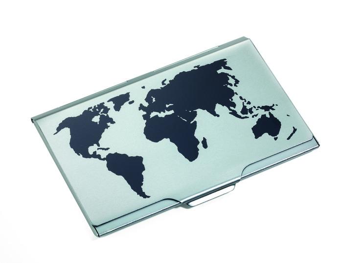 TROIKA / 世界地圖輕巧名片夾(鈦色)