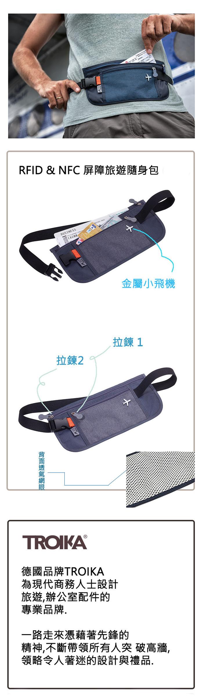 TROIKA|  RFID NFC 屏障旅遊隨身包 (藍色)