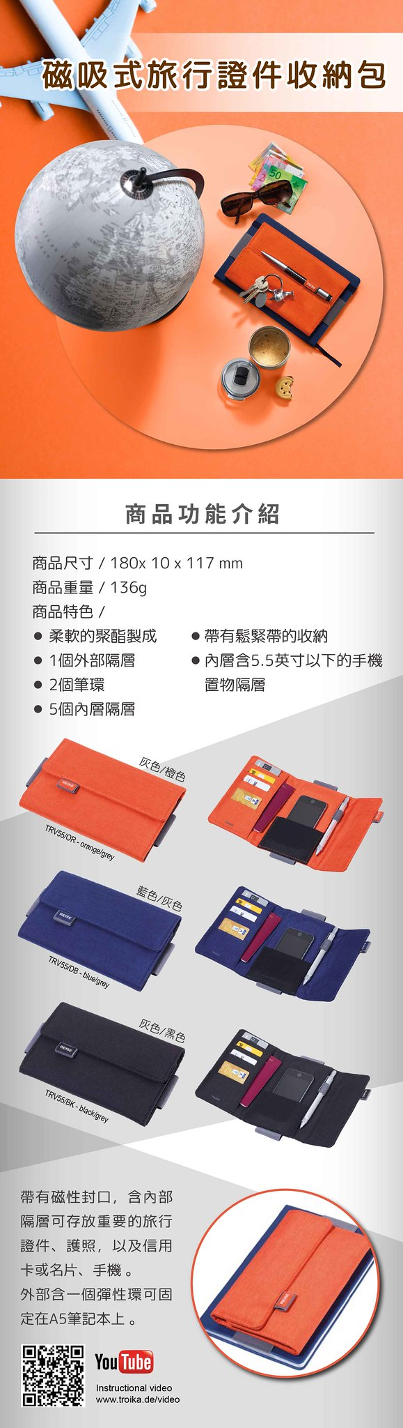 TROIKA   磁吸式旅行證件收納包
