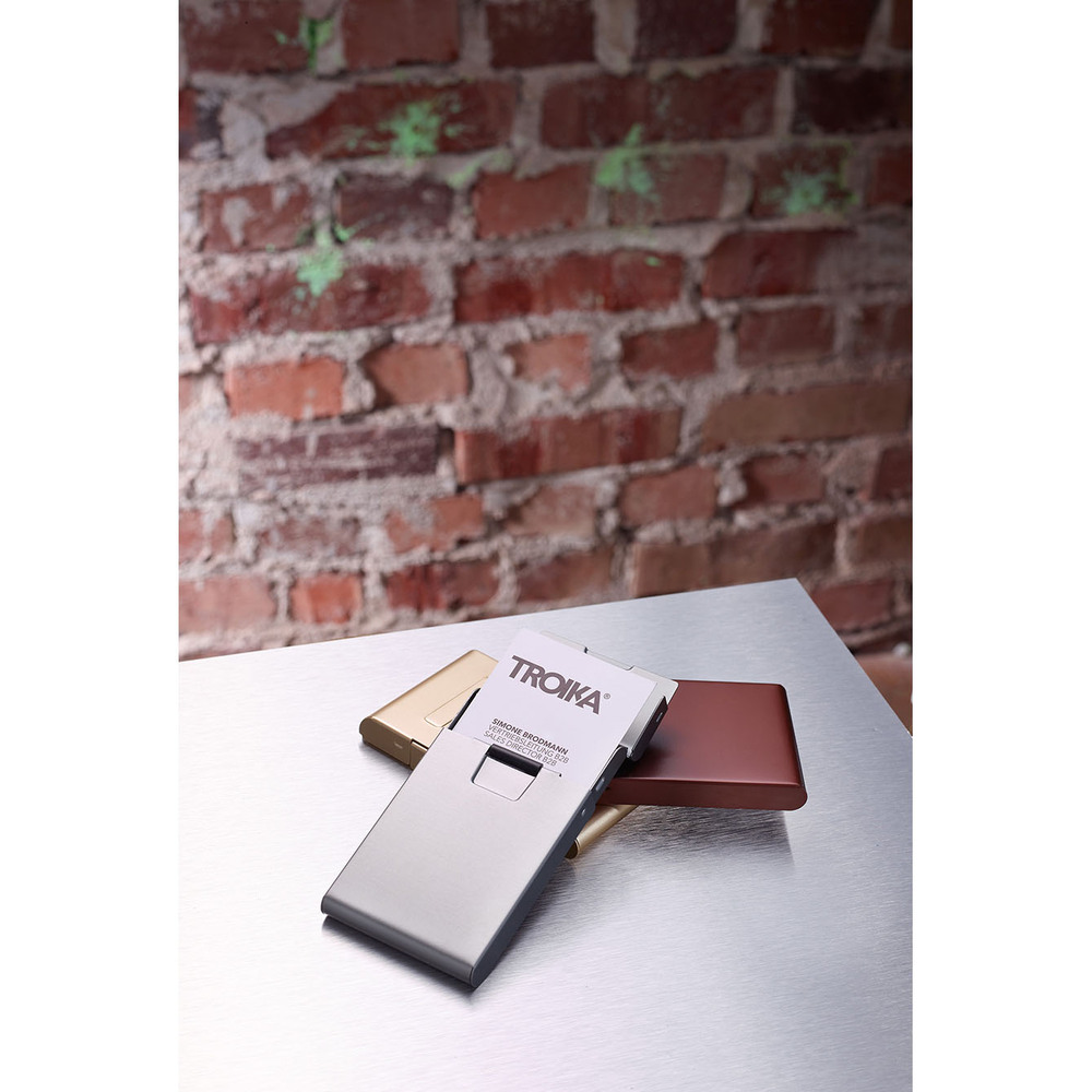 TROIKA|簡便滾動立名片夾(鈦色)