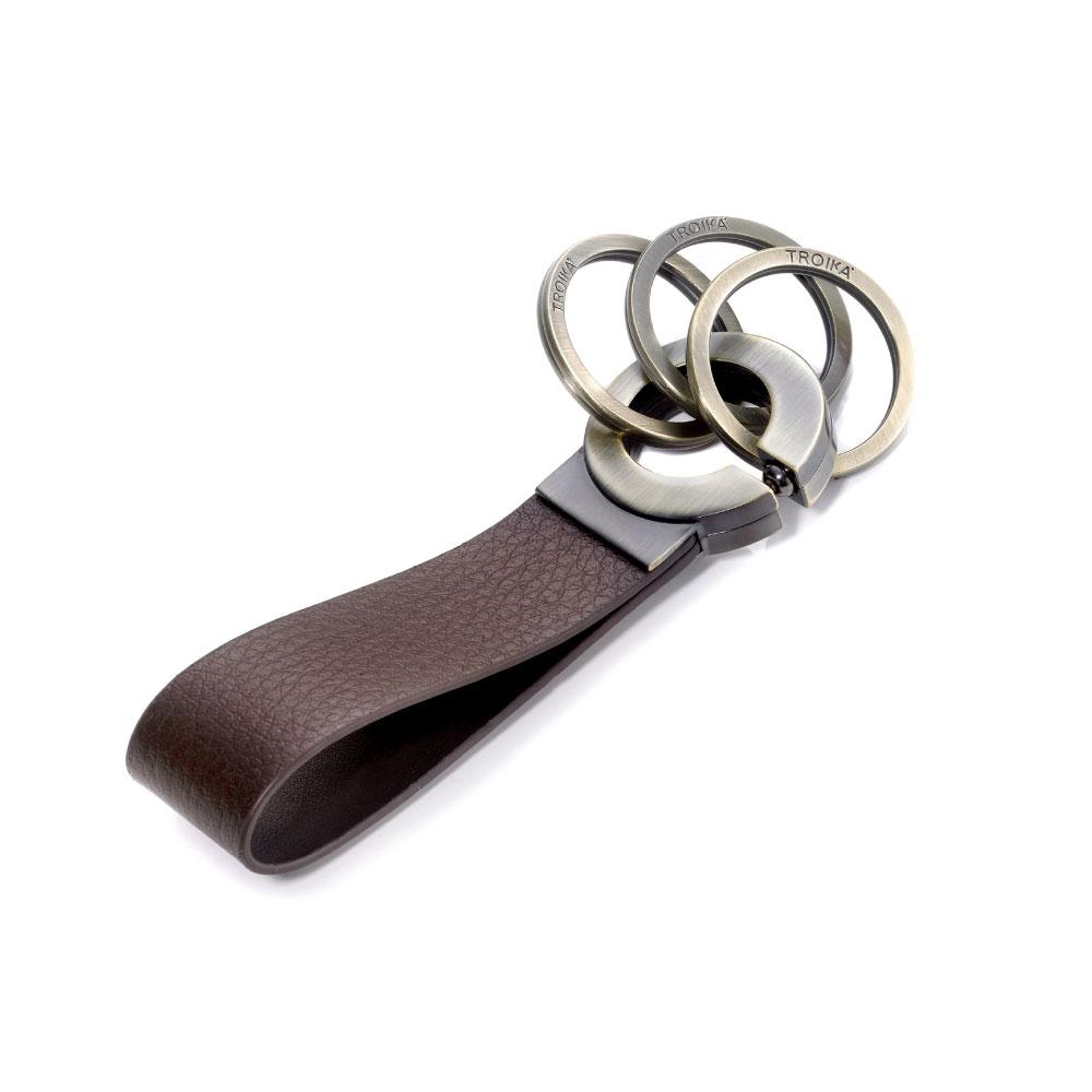 TROIKA | 滾球軸承環鑰匙圈(咖啡皮革古銅金屬)