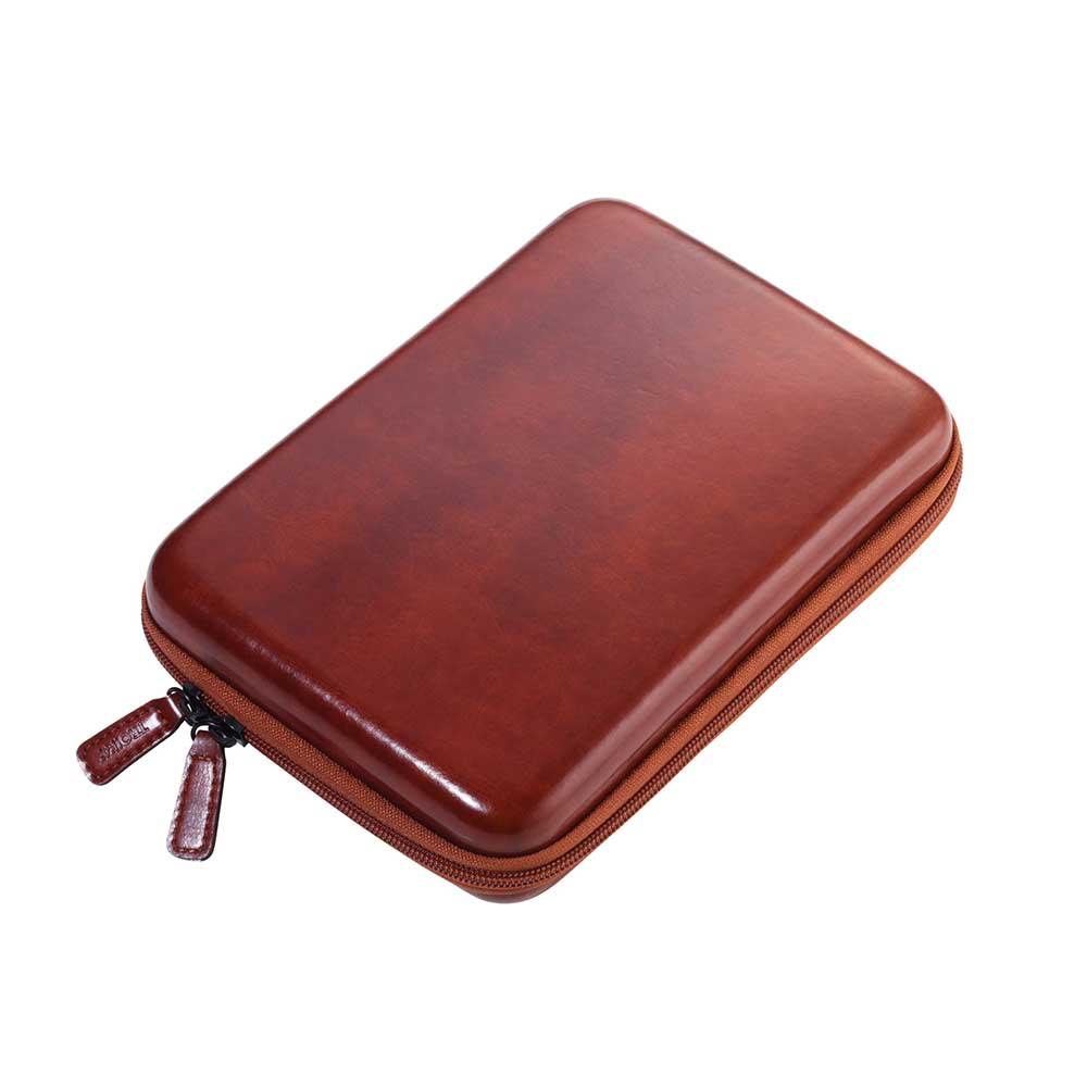 TROIKA|硬殼皮革拉鍊收納盒(咖啡色)