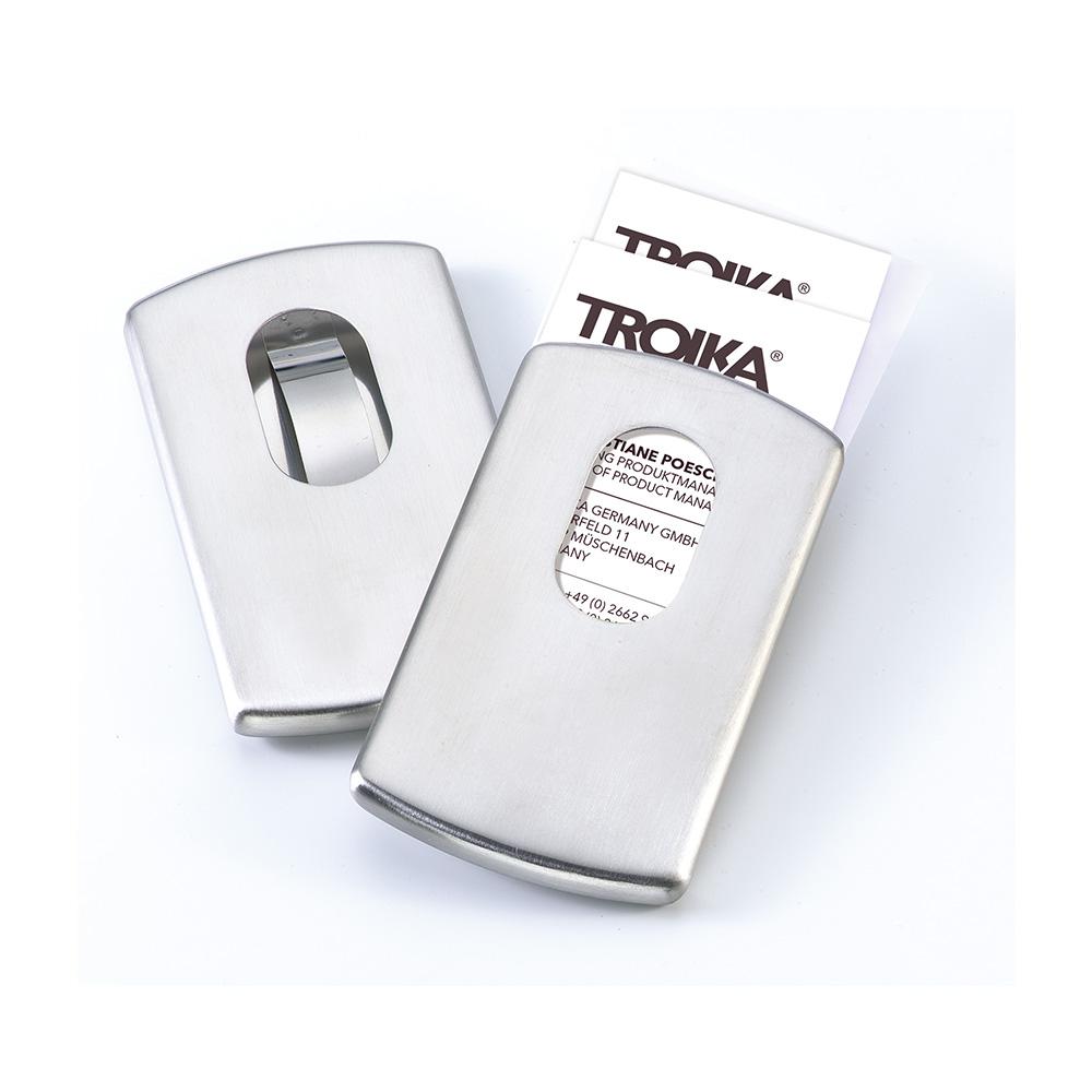 TROIKA|不銹鋼單手滑動名片夾(不銹鋼原色)