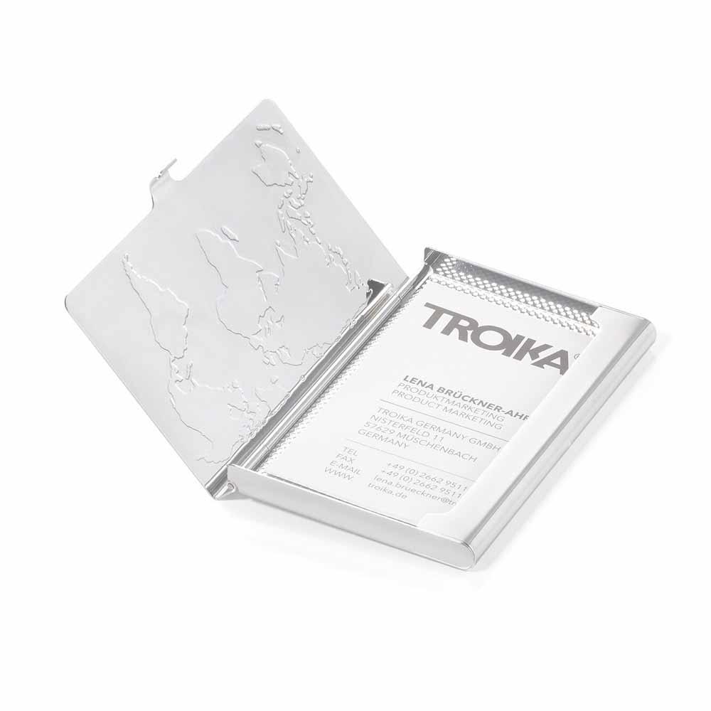 TROIKA|不鏽鋼世界地圖名片夾屏蔽隨身隨身多功能卡夾