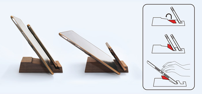 dStand|雙槽手機座(楓木)+瓢蟲造型手機架(胡桃木/櫸木) 【原木手機架組】
