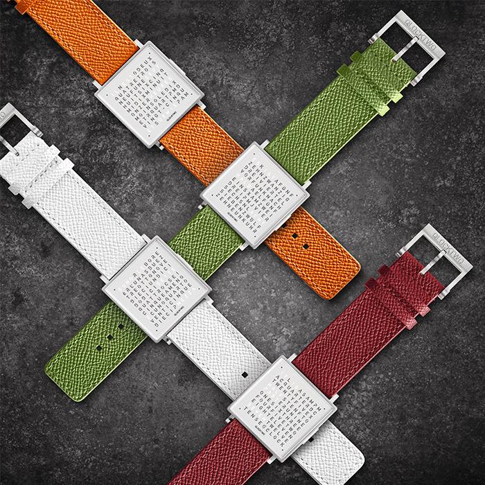 (複製)QLOCKTWO W35 Pure Black霧面精鋼腕錶_黑色牛皮錶帶