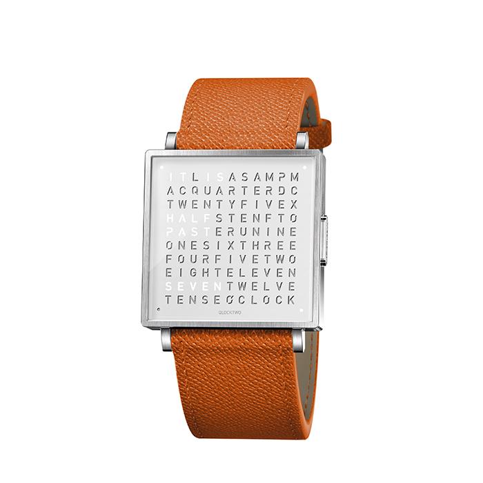 (複製)QLOCKTWO W35 Pure White 白色霧面精鋼腕錶_白色法式紋理牛皮錶帶