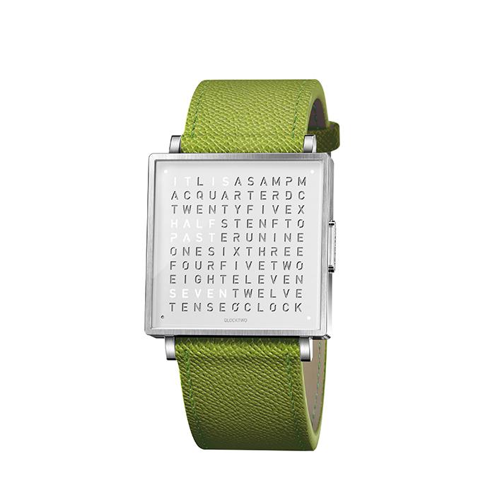 (複製)(複製)QLOCKTWO W35 Pure White 白色霧面精鋼腕錶_亮橘色法式紋理牛皮錶帶