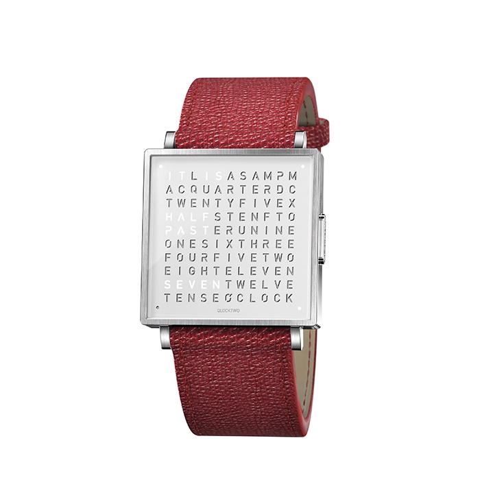 (複製)QLOCKTWO W35 Pure White 白色霧面精鋼腕錶_綠色法式紋理牛皮錶帶