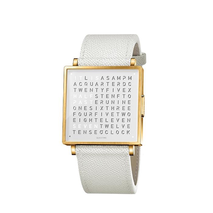 (複製)QLOCKTWO W35 Pure White 白色霧面精鋼腕錶_紅色法式紋理牛皮錶帶
