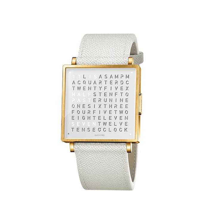 (複製)QLOCKTWO W35 Pure White Gold PVD 白色霧面黃金精鋼腕錶_白色法式紋理牛皮錶帶