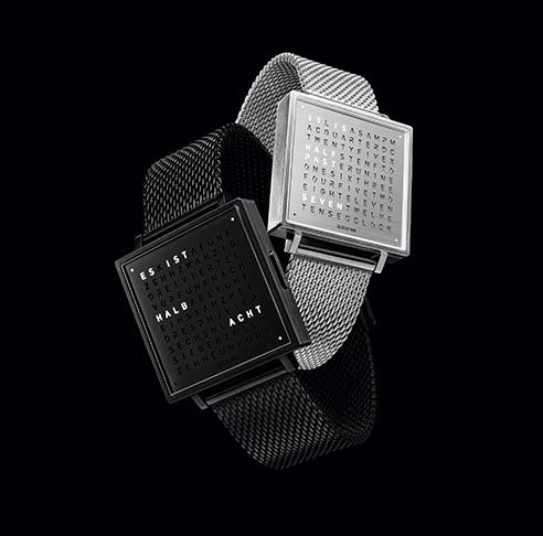 (複製)QLOCKTWO W35 Copper, Rosegold PVD 霧面質感玫瑰金腕錶_深咖啡色牛皮錶帶