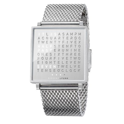 QLOCKTWO|Fine Steel 典雅銀鍊帶腕錶