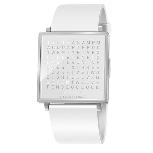 QLOCKTWO|精靈白精鋼腕錶(亮面)