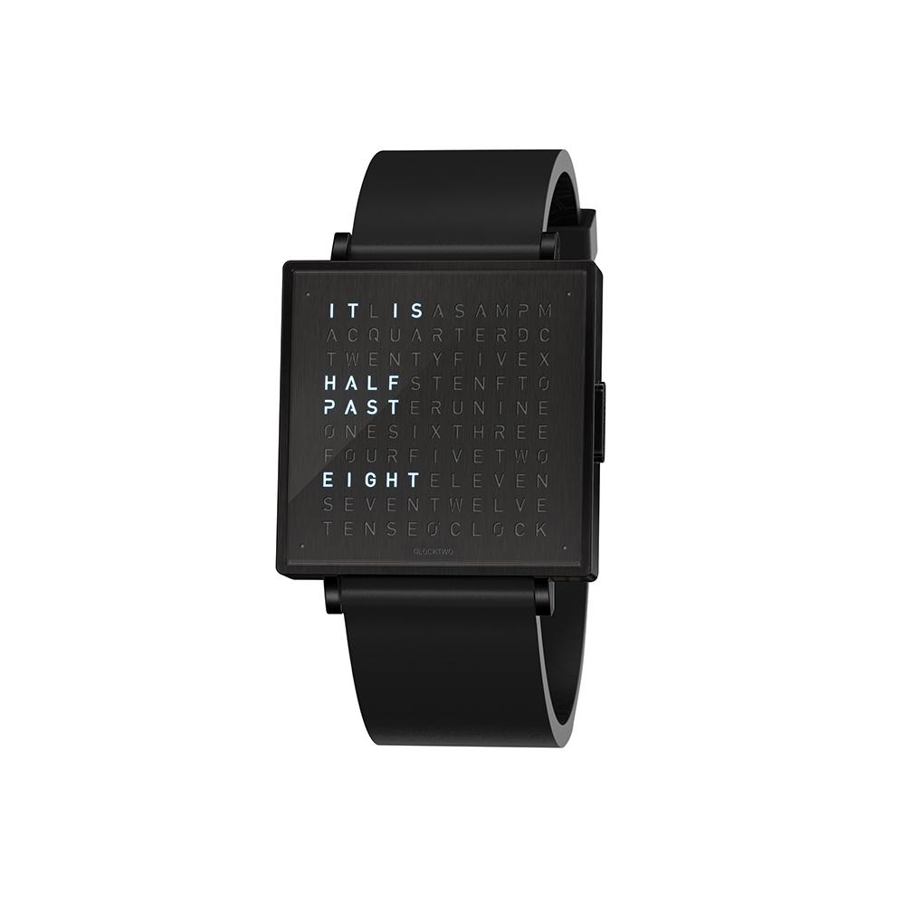 Qlocktwo | Watch W39 Black Steel, Black DLC finish, 霧面黑色精鋼腕錶-橡膠錶帶
