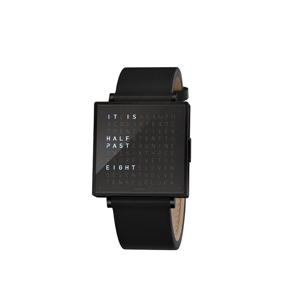 Qlocktwo   Watch W39 Black Steel, Black DLC finish, 霧面黑色精鋼腕錶-黑色牛皮錶帶
