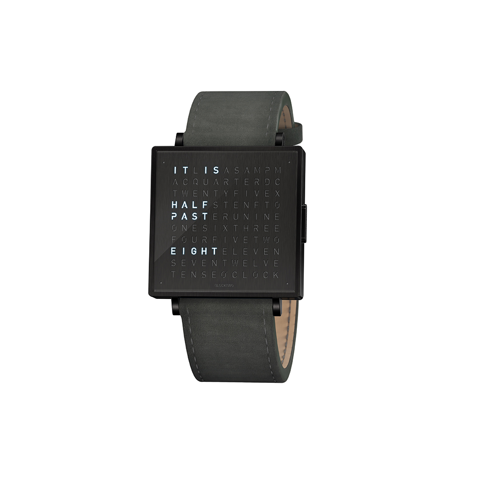 Qlocktwo | Watch W39 Black Steel, Black DLC finish, 霧面黑色精鋼腕錶-煙燻灰麂皮錶帶