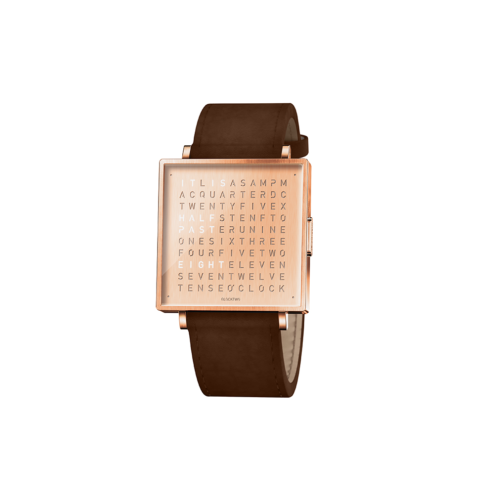 Qlocktwo | Watch W39 Copper, RoseGold PVD, 霧面質感玫瑰金精鋼腕錶-深咖啡色牛皮錶帶