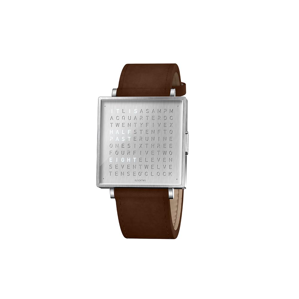 Qlocktwo | Watch W39 Fine Steel典雅銀腕錶-深咖啡色牛皮錶帶