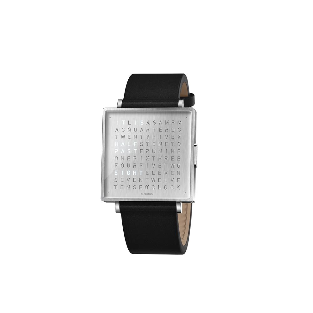 Qlocktwo | Watch W39 Fine Steel典雅銀腕錶-黑色牛皮錶帶