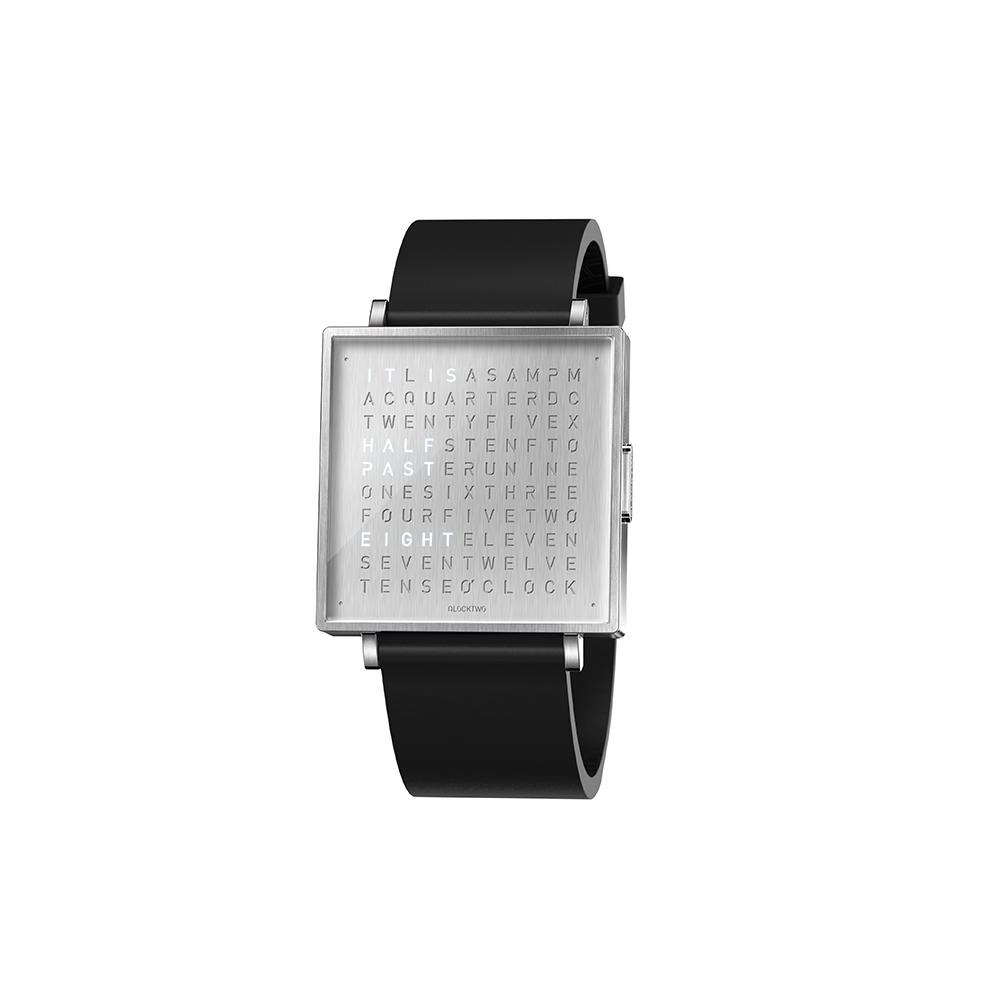 Qlocktwo | Watch W39 Fine Steel典雅銀腕錶-黑色橡膠錶帶