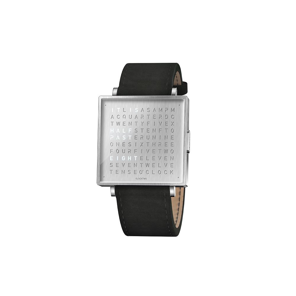 Qlocktwo | Watch W39 Fine Steel典雅銀腕錶-黑色麂皮錶帶