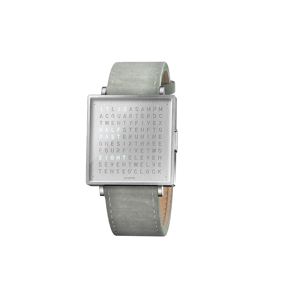 Qlocktwo | Watch W39 Fine Steel典雅銀腕錶-淺灰色麂皮錶帶